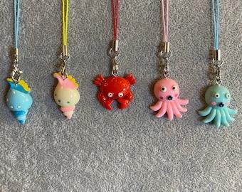 Sea Animal Phone Charms   Aquarium   Sea   Octopus   Crab   Shell   Mermaid   Quirky   Statement