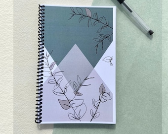 Spiral Bound Notebook, Coil Bound Journal Academic Daily Planner, Diary, 80 Pages, Abstract Geometric Plant, Handmade Stationery