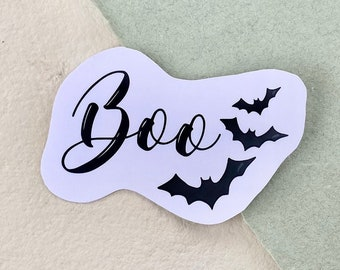 Halloween Boo Spooky Bats Vinyl Sticker, Fall Autumn Spooky Sticker, Laptop Sticker, Bullet Journal, Scrapbook, Waterproof Sticker