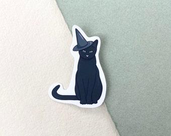 Halloween Black Cat Witch Vinyl Sticker, Fall Autumn Spooky Sticker, Laptop Sticker, Bullet Journal, Scrapbook, Waterproof Sticker