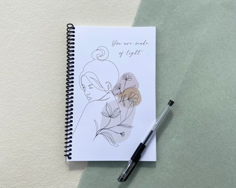 Spiral Bound Notebook, Coil Bound Journal Academic Daily Planner, Diary, 80 Pages, Female Line Drawing, Handmade Stationery