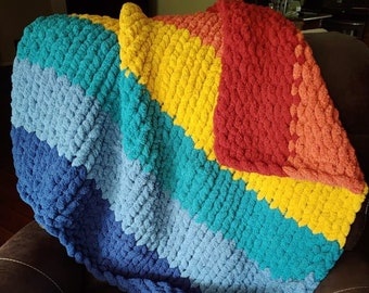 Chunky Hand Knit Lap Blanket