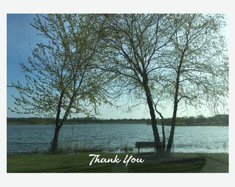 BLANK 100%  Recycled White Matte, Greeting Card - A Park at Dawn (No Copy on front or inside card)