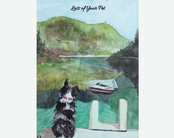 Pet Loss Sympathy-Recycled Greeting Card with Original Artwork and Text