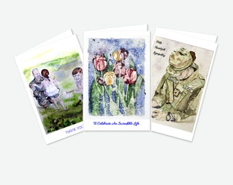 You Choose - Pick 3 - BLANK 100% Recycled Greeting Cards with Original Artwork