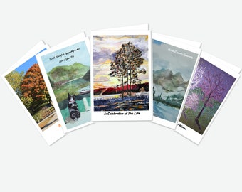 Your Choose- Pick 5 BLANK 100% Recycled Greeting Card with Original Artwork (no copy on front or inside)