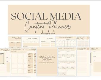 Social Media Content Planner, Instagram Social Media templates, Content Planner, Printable Planner, Social media manager, Business Planner