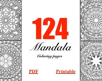 124 Mandala Pattern Coloring Book Pages   Digital Download   PDF  