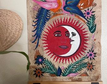 Hand Painted Mexican Folk Art on Amate Bark- Sun and moon