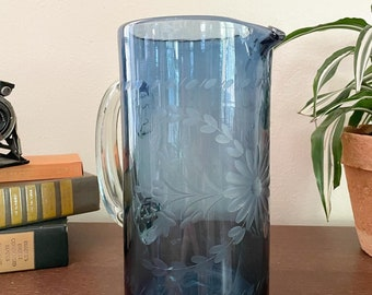 Rose Ann Hall hand blown, etched pitcher in French blue