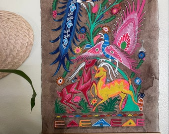 Hand Painted Mexican Folk Art on Amate Bark- Two deer