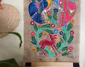 Hand Painted Mexican Folk Art on Amate Bark- Birds and animal