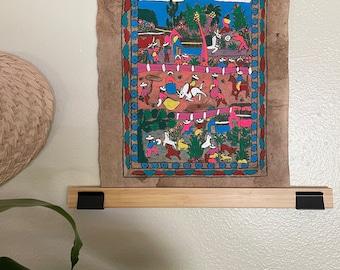 Hand Painted Mexican Folk Art on Amate Bark- bull riding