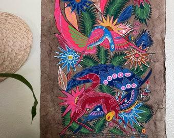 Hand Painted Mexican Folk Art on Amate Bark- Fox and snake