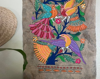 Hand Painted Mexican Folk Art on Amate Bark- Purple and yellow bird trio