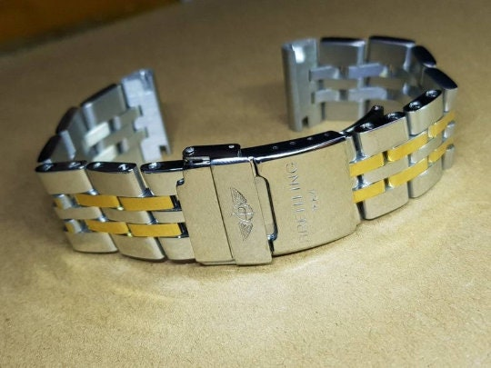 BREITLING 18MM/20MM/22MM/24MM 2/Tone--S/Steel/Yellow Gold Gents Watch Strap,New,Straight Lugs, 20MM