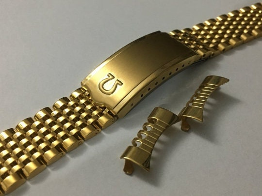 OMEGA 18mm 19mm 20mm Yellow Gold Plated Rice Bead Gents Watch Strap,Curved Lugs new.