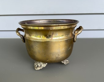 Handmade Footed Solid Brass Planter