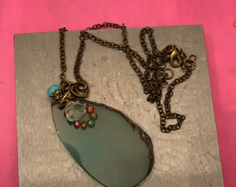 Agate Pendant Necklace with gems