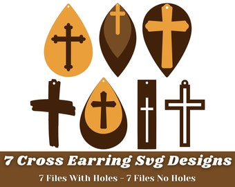 Cross Earring Svg - 7 Designs Earring Svg Bundle -Earring Svg Files For Cricut, Silhouette, etc - Earring Svg Shape - Instant Download