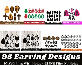 Earring Svg - 95 Designs Earring Svg Bundle - Earring Svg Files For Cricut, Silhouette, others - Earring Svg Template Instant Download