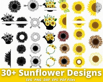 Sunflower SVG - 30+ Designs Sunflower Svg Bundle - Sunflower Png, Eps, Dxf, Pdf, Svg files for Cricut, Silhouette, etc.. - Instant Download