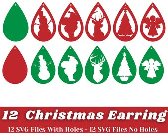 Earring Svg - 12 Designs Christmas Earring Svg Bundle - Earring Svg Files for Cricut, Silhouette, etc - Earring Template Instant Download