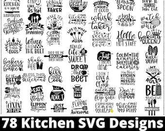Kitchen SVG Bundle With 78 High Quality Images - Use SVG Files In Cutting, Cricut , Silhouette - Cooking SVG - Chef, Funny Kitchen Svg,