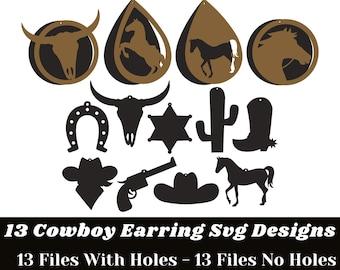 Earring SVG - 13 Cowboy Designs Earring Svg Bundle - Earring SVG Files for Cricut , Silhouette, etc  -  Earring SVG Designs Instant Download