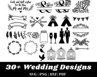 Wedding SVG - 30+ Designs Wedding Svg Bundle - Wedding Svg Files For Cricut, Silhouette, etc. - DXF, Pdf, PNG, Dxf Files - Instant Download