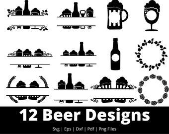 Beer Svg - 12 Designs Beer Svg Bundle - Beer Svg Files For Cricut, Silhouette, etc - Svg, Dxf, Eps, Pdf, Png Files For Instant Download