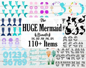 Mermaid Svg - 110+ Items Mermaid Svg Bundle - Mermaid Svg Files for Cricut, Silhouette, etc - Mermaid Svg Alphabet - Instant Download
