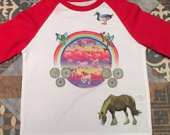 Child's running horses and duck T-shirt