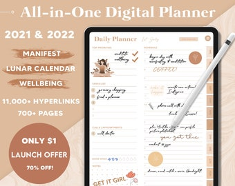 Digital Planner 2021 to 2022, GoodNotes Planner, Dated Digital Planner, iPad Planner, Daily Planner, Notability Planner, Android Planner