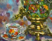 Russian Traditional Metal Teapot China Tea Cup Oil Painting, Tea Lover Original Atrwork, Samovar, Kitchen Wall Art by RoseGeorgiART