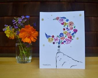 Moon Bloom Thank You Card