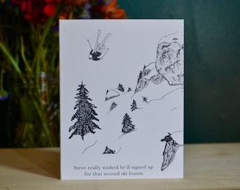 Skiing Steve Greeting Card
