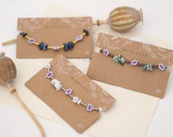 Summer bracelet with precious stones & flowers