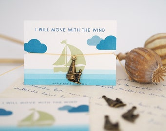 Bracelet - WIND SURFING / Freedom, Surf, Sport, Charm, Pendant, Macramé, Vegan, Quote, Less Waste, Sustainable, Jewelry Card