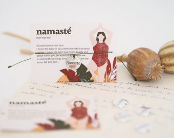 Bracelet - NAMASTE / Self-Love, Yoga, Charm, Pendant, Macramé, Vegan, Quote, Less Waste, Sustainable, Jewelry Card