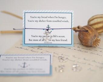 Bracelet - ANKER / Friendship, Self-Love, Sea, Wanderlust, Charm, Pendant, Macramé, Vegan, Quote, Less Waste, Sustainable, Jewelry Card