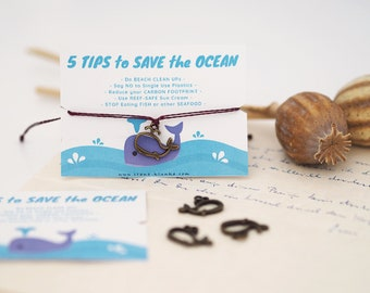 Bracelet - SAVE the OCEAN / Whale, Ocean, Environmental Protection, Charm, Pendant, Macramé, Vegan, Quote, Less Waste, Sustainable, Jewelry Card, Design