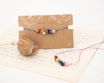 Bracelet Rainbow Edition with colorful gemstones and macramé closure