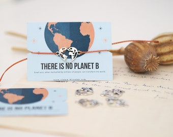 Bracelet - There is no PLANET B / Earth, World, Environmental Protection, Charm, Pendant, Macramé, Vegan, Quota, Sustainable, Jewelry Card, Design