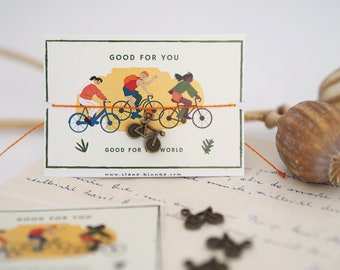 Bracelet - BICYCLE / Environmental Protection, Sport, Charm, Pendant, Macramé, Vegan, Quote, Less Waste, Sustainable, Jewelry Card