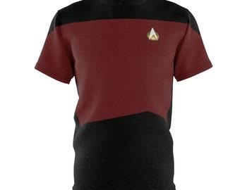 Star Trek The Next Generation Red Uniform T-Shirt- ST TNG Red Shirt - Picard Riker Data Crusher Geordi - Star Trek Gift