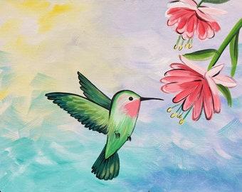 Lucky Hummingbird - Original acrylic painting by Skye Pratt
