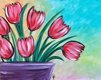 Tulip Bouquet - Original acrylic painting by Skye Pratt