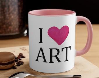 I Heart Art - Pink and white artists' Coffee Mug, 11oz
