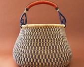 Ghana Extra Large Natural Navy Pot Basket